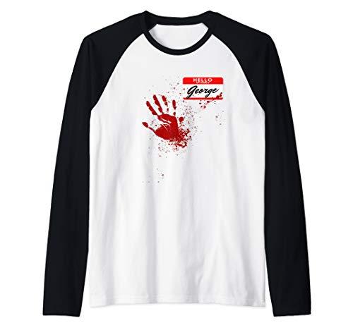 Mens Hello My Name Is George - Blood Hand - Scary Halloween Raglan Baseball Tee