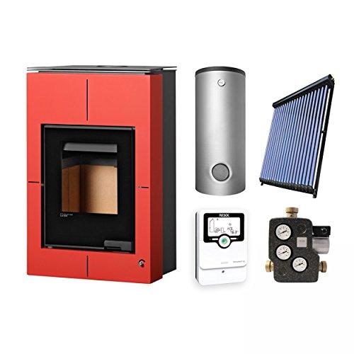 Aquaflam KS2848 Vario Saporo Basic Red Wasserführender Kaminofen Komplett-Set + Solarthermie-Set 2 (11 m²) + Hygienespeicher SHS 550 + 1 SWT