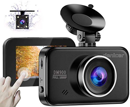 Denicer Dual Car Dash Cam Front and Rear [Upgrade V2.0] Full HD 1080P Camera for Cars 3″ IPS High Definition Touch Screen DVR Recorder with Back Camera, Parking Monitor, Motion Detection, WDR, G-Senso Audio Cameras Car On-Dash