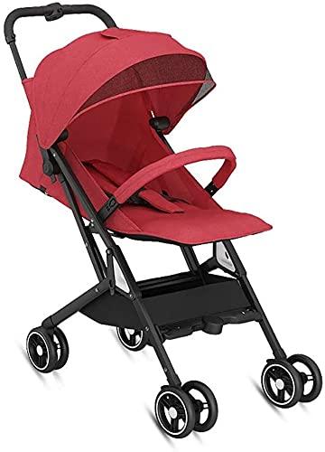 Cochecito de bebé para niños con asiento reclinable para dormir al bebé – Cochecito de viaje ligero portátil, toldo grande para paraguas para bebé (color: rojo)