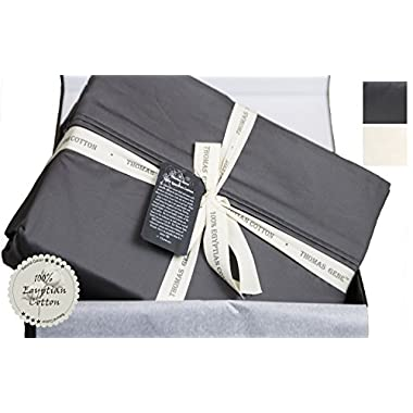 100% Egyptian Cotton Sheets, Genuine 1000 Thread Count 4 Piece Gift Box Set, Hotel Luxury Sateen Weave with Extra Deep Pockets (Queen, Charcoal)