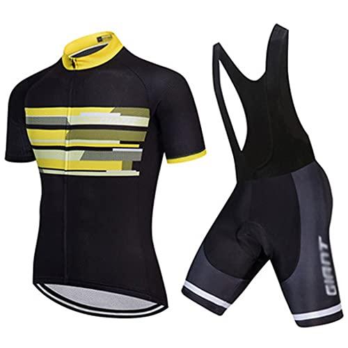 ZAYZ Conjunto de Ropa de Bicicleta para Hombre Maillots de Ciclismo Básicos Camisas de Bicicleta de Carretera Culotte Corto con Tirantes Que Absorbe La Humedad (Color : Yellow, Size : X)