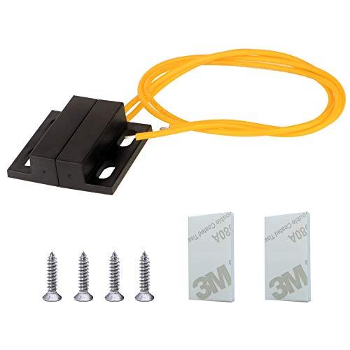 Gebildet 1set 100V-240V Ventana/Puerta Sensor de Contacto Alarma Interruptor de Láminas Magnético con Alambre Amarillo,Interruptor Magnético Normalmente Cerrado