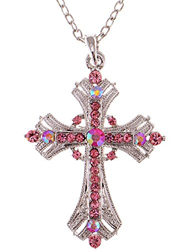 Alilang Silvery Tone Religious Cross Pendant Necklace w/Rose Pink Crystal Rhinestones