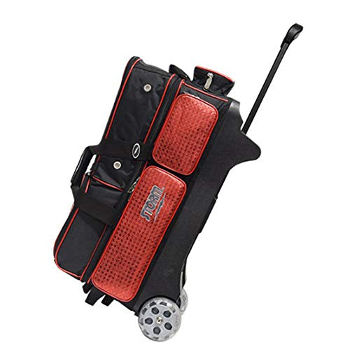 STORM 3 Ball Roller Deluxe Bowling Bag Bowl Accesories Shoe Pouch (Black&Red)