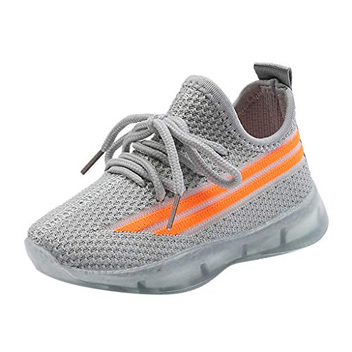 Baby Toddler Boys Girls LED Light Up Tennis Shoes Sneakers 1-6 Years Old Kids Mesh Breathable Running Shoes (15-18 Months, Gray)