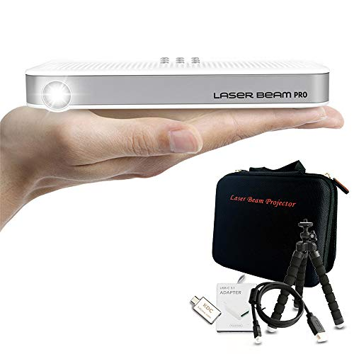 Laser Beam Pro C200 Projector + Basic Accessory Set l Customized Bag, Tripod Stand, Micro HDMI to HDMI Cable, HDMI to USB-C Adapter - Portable Mini 1080P 4K Supported 768P HD Output Laser Projector