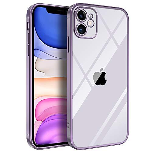 BENTOBEN iPhone 11 Hülle, Handyhülle iPhone 11 Hülle Slim Anti Gelb Silikon Bumper Stoßfest Klar Ultra Dünn Cover Hülle für iPhone 11 (6,1 Zoll) Transparent Lila