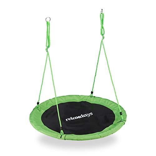 Relaxdays Columpio Jardín Nido de Altura Ajustable para Niños y Adultos, hasta 100 kg, Verde, ø 110 cm, Juventud Unisex