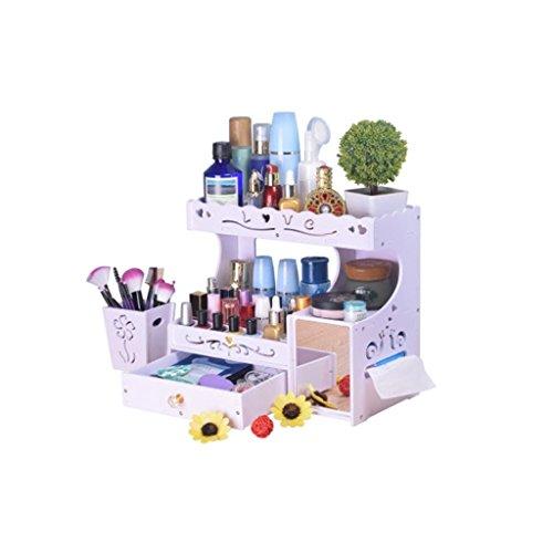 Coffrets de maquillage Boîte De Rangement Cosmétique Support De Tiroir Boîte De Finition De Coiffeuse Mignon Simple avec Le Miroir 19.3 * 30 * 35cm (7.5 * 11.8 * 13.7inch)
