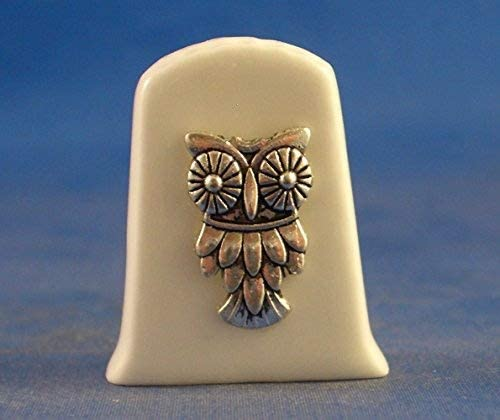Porcelain China Collectable Thimble - Antique Silver Owl with Fr