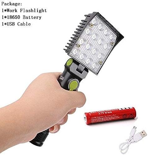 B   Lampe torche 16 LED rechargeable USB 4 modes Aihommet Crochet Lampe de poche pour avertisseHommest de circulation Balise de sauvetage Feu Flare