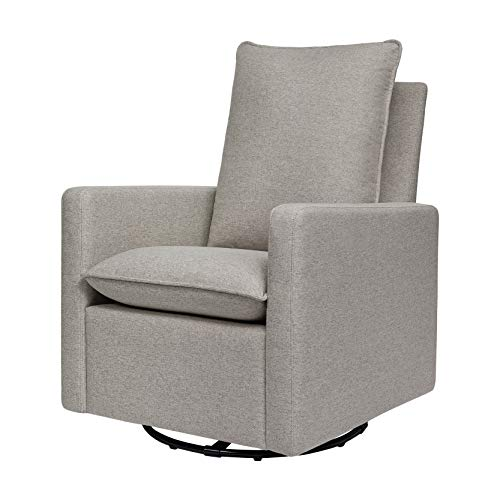 babyletto Cali Pillowback Swivel Glider in Performance Grey Eco-Weave, Water Repellent & Stain Resistant, Greenguard Gold Certified