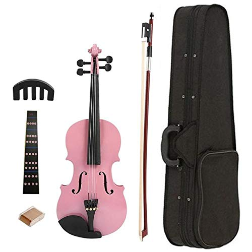 LOIKHGV 1/8 Splint Bright Acoustic Violin Fiddle mit Kolbengehäuse Bogenschalldämpfer Kits Bright Fiddle Exerciser Set für Musikliebhaber Student, Pink, China