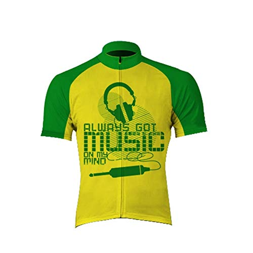 Maglia Ciclismo Maniche Corte Uomo,Summer Breathable Quick Dry Printed Green Music Letters Mountain Cycling Jersey Biking Shirt,Full Zipper Mtb Road Bicycle Riding Tops For Sports Outdoors Bike Clot