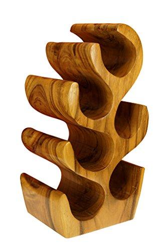 Kinaree Massivholz Weinregal für 6 Flaschen - 50cm freistehendes Flaschenregal in Baum Form aus einem Stück massiver Akazie (Suar) in rustikaler Optik