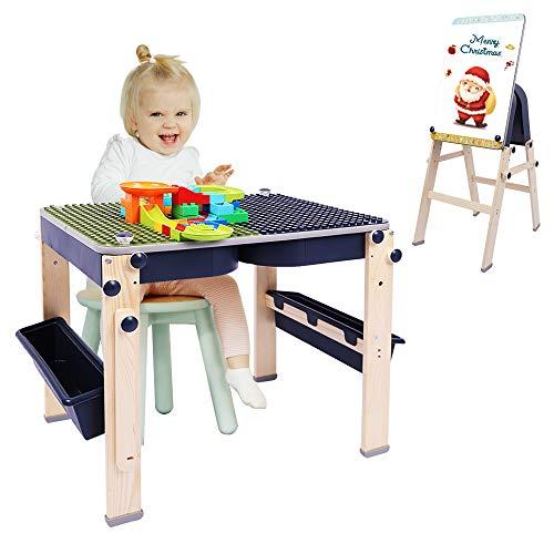 Dripex Bausteine Spieltisch inkl. Bausteinen, multifunktionaler Aktivitätstisch mit Aufbewahrungsbox, kompatibler Bausteintisch Schreibtisch Kunsthandwerk Tisch Staffelei für Kinder