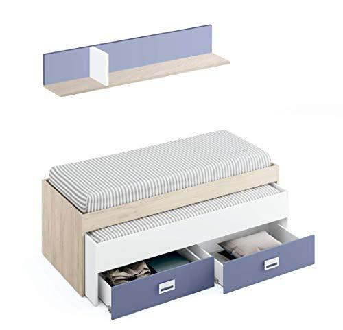 Muebles Pitarch Leo Cama Nido, Aglomerado de partículas y melanina de Alta Densidad, Aurora/Blanco Atlas/Azul Talco, 70 x 202 x 100/estante:198 x 28 x 25 cm