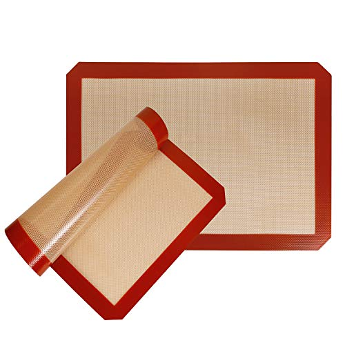 STATINT Silicone Baking Mat Non-Stick, Set of 2 Half Sheet Heat Resistant Liner | Cookies, Meats, Vegetables, Pastries | Reusable, Eco-Friendly, Dishwasher Safe, 16.5' x 11.6'