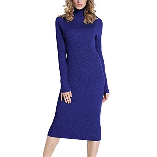 Rocorose Women's Turtleneck Ribbed Elbow Long Sleeve Knitted Sweater Dress