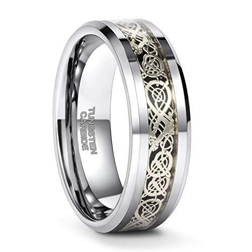 Frank S.Burton 8mm Mens Celtic Dragon Tungsten Carbide Ring Wedding Band Comfort Fit 9