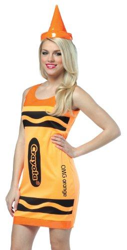 Crayola Tank Dress Adult Costume Neon Orange - Small/Medium