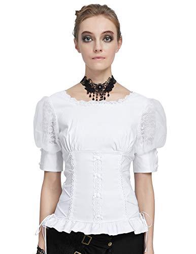 Top Blusa Gótica Mujer Victoriana Top Mujer Traje Medieval Retro Vintage...