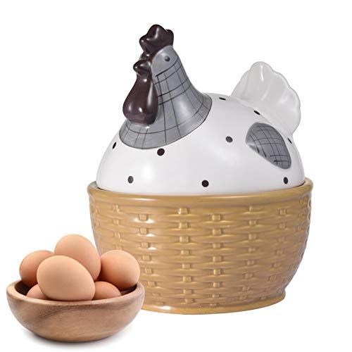 Aufbewahrungskorb Aus Keramik Mit Deckel, Hühner-Design Eisenkorb Eierhalter, Organizer, Behälter, Eierkorbhalter