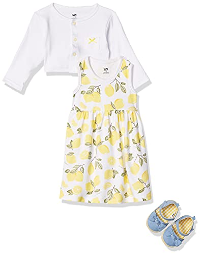 Hudson Baby Girls' Cotton Dress, Cardigan and Shoe Set, Lemon, 9-12 Months
