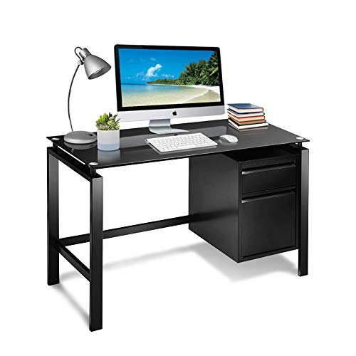 INTERGREAT Black Office Desk with Drawers, 46' Metal Computer Desk with Tempered Glass Top, Modern Writing Study Table with Storage for Workstation, Home