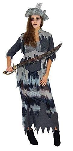Langes Fetzen Geister Piraten Kostüm mit Piratenhut für Damen zu Fasching Karneval Halloween Kleid Größe XXXL