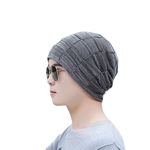 Bonnet Unisexe Chapeau tricoté Homme Beanie Hats, Mode Hommes Hiver Épais Chaud Bonnets SkulliesKnit À Carreaux Unisexe Bonnet Marque Femmes Casquettes @ Gris