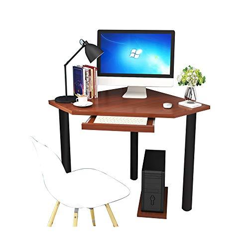 Tische ZR Wandtisch- Computertisch, Eckschreibtisch, Eck-/Ecktisch gebogener Schreibtisch/Studiertisch Mit Tastaturunterstützung -Platz sparen (Farbe : Walnut Color)