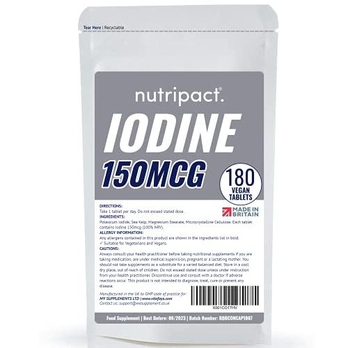Iodine Supplement 150mcg Tablets - 180 Vegan Tablets - 6 Month Supply -...