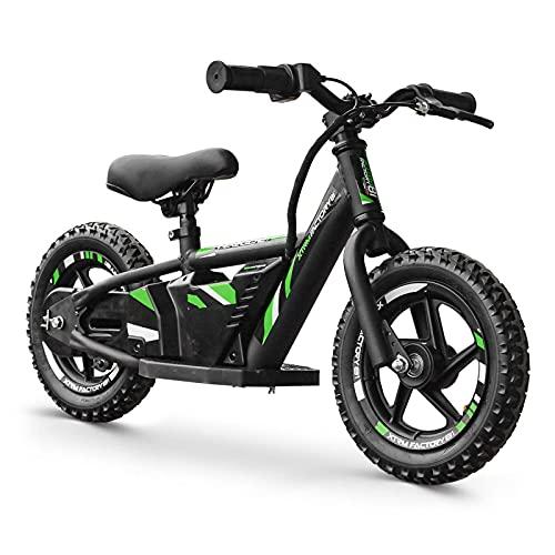Patinete eléctrico infantil de 180 W, 24 V, color negro y verde