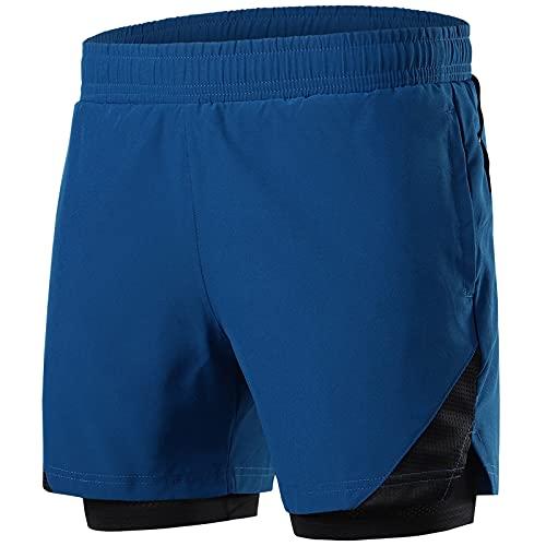 Pantalones Cortos para Correr para Hombres 2 En 1 Pantalones Cortos De Gimnasio para Hombre De Secado Rápido Pantalones Cortos Deportivos Transpirables para Entrenamiento,Deep Blue,XXL