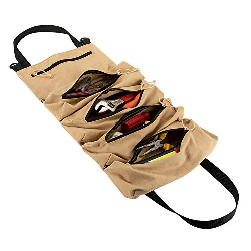 HRX Package Canvas Rollup Tool Bag Compact Tool Roll Pouch with 5 Zipper Pockets Tool Organizer Carrier Bag for Car Motorcycle