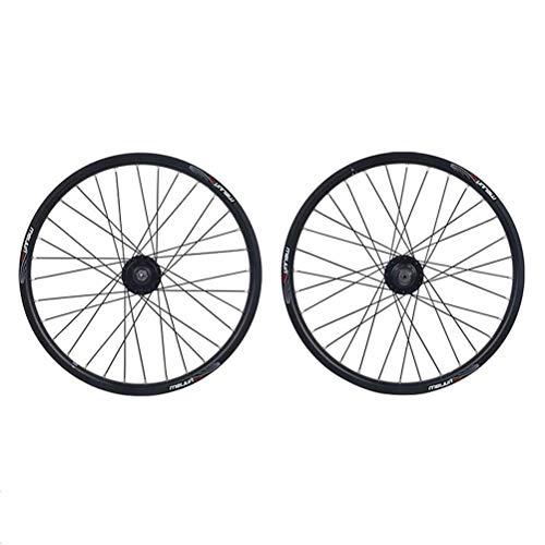 20 Zoll Mountainbike Laufradsatz Doppelwandiger Leichtmetallrand Scheibenbremse BMX 8-10 Geschwindigkeit Fahrradräder 32H QR Kugellager Kassettennaben (Color : Gold)