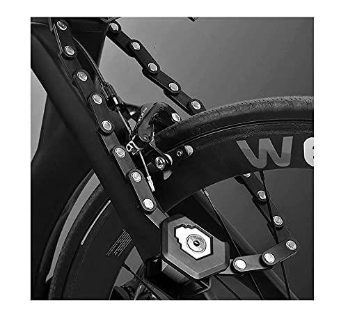 PANGF Candado de cadena portátil para bicicleta de 85 cm, de aleación de acero de alta seguridad, para bicicleta de carretera, BMX, 3 llaves y soporte de montaje incluido