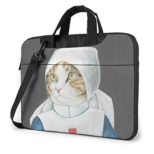 Laptop-Hülle, Cat-Krankenschwester Aktentasche Messenger Notebook-Tasche 15,6 Zoll