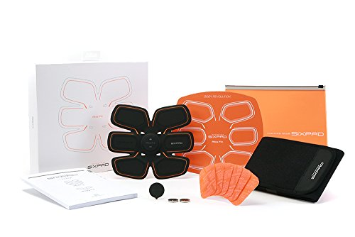 SIXPAD Abs Fit EMS Abdominal Trainer Training Gear & Abs Fit Fit2 Gel Sheet Pack, Orange, One Size