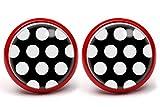 LA FABA'Polka Dots' Ohrstecker Polka Punkte weiß auf schwarz mit extra großen Punkten, Ohrringe...