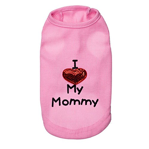 Dog Shirts I Love My Mom/Mommy Dad/Daddy Clothes Doggy Slogan Costume Cute Heart Vest for Small Dogs Puppy T-Shirt