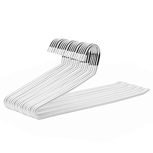 SONGMICS Hosenbügel aus Metall, 20er Set, Kleiderbügel, offenes Design, rutschfeste Beschichtung, platzsparend, Länge 38 cm, weiß CRI008W01