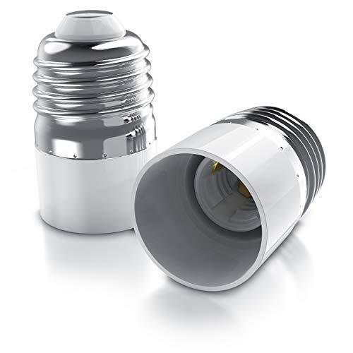 CSL - 2 x Lampensockel E27 Fassung auf E14 Sockel Adapter - Konverter - Lampenfassung - Lampensockeladapter für LED Halogen Energiesparlampen