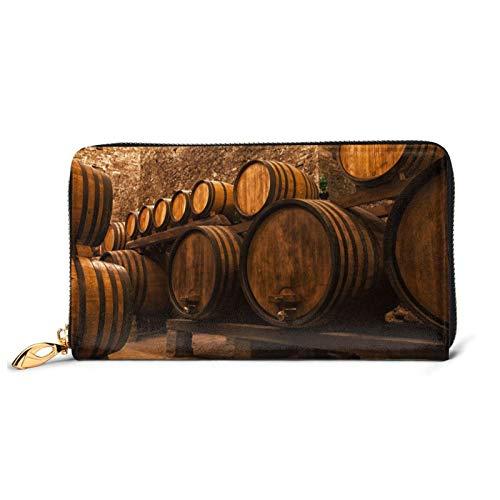 Vino roble contenedor de cuero impreso cartera mujeres cremallera bolso embrague bolsa de viaje tarjeta de crédito titular monedero, Black (Negro) - Black-48