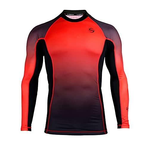 UPF 50+ Rash Guard for Men Long Sleeve Swim Surf Shirt - Tight Tit UV Rashguard(Red, L)