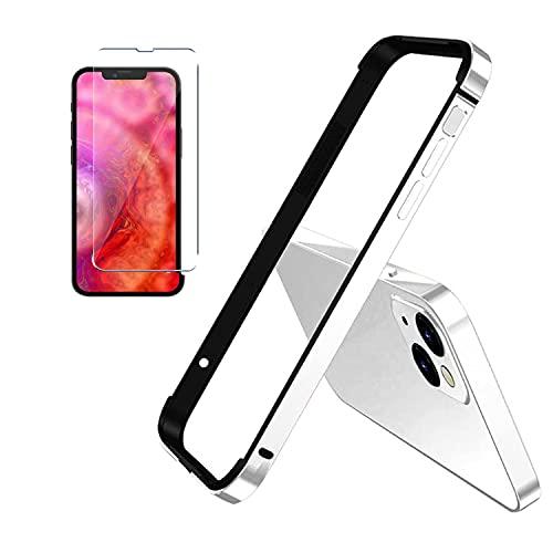 For iPhone 13 Pro Max 13 Mini 6.7 Inch Aluminum Frame Metal Bumper Slim Hard Case Cover, telaio in metallo con morbido bumper interno (Silver, iPhone 13/13 Pro)