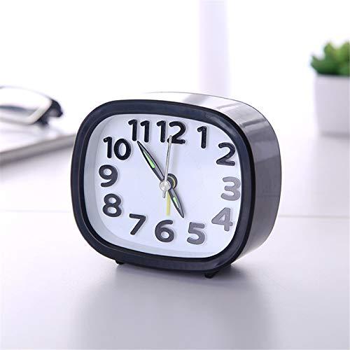 Despertador Cuadrado Redondo pequeño posponer la batería silenciosa de Despertar Alimentado Viaje portátil B