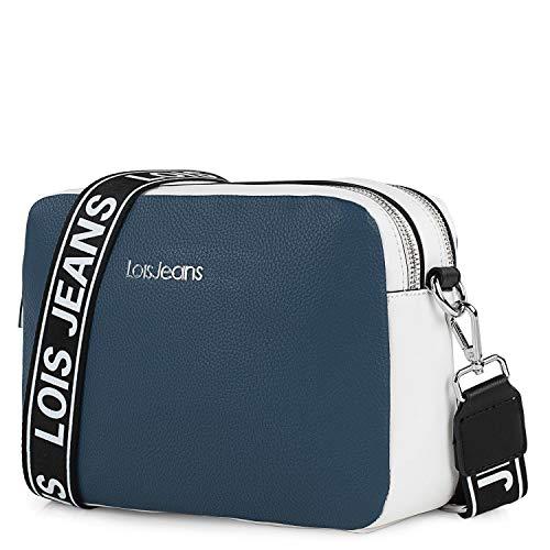 Lois - Bolso Bandolera para Chica con Dos Tiras Intercambiables diseño Minimalista Elegante Moderno Funcional y versátil 307183, Color Marino-Blanco